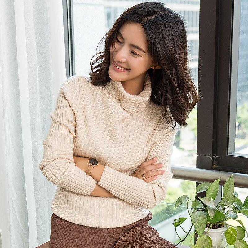 100% prawdziwe kaszmirowy sweter z dzianiny kobieta z golfem wysokiej elastyczna swetry kobiet czystego kaszmiru dzianiny 5 kolory standardowe tkaniny w Pulowery od Odzież damska na  Grupa 3
