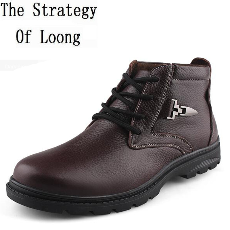 Men Winter Genuine Leather Thick Warm Snow Boots 2017 New Fahion Man Pure Color Lace Up