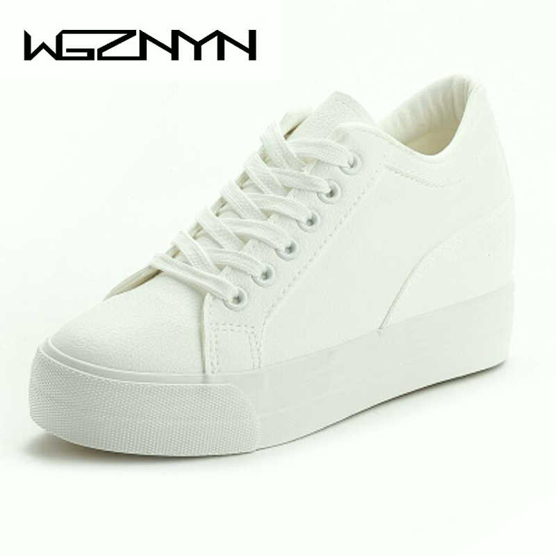 NEW White Black Wedges Sneakers Platform Shoes Woman Top Quality Platform  Single Shoes Height Increasing Women 74b96f06ebdc