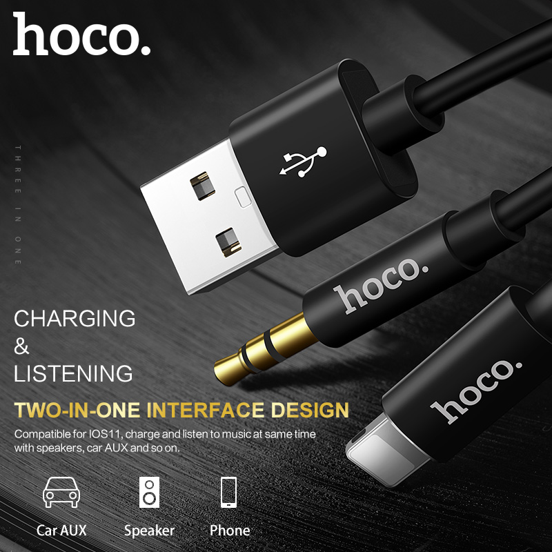 HOCO 2 In 1 USB To Lightning 35mm Jack Cable AUX Audio Charging 30 Wire For IPhone X 7 7s 8 Plus Headset Car PC