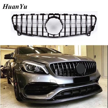 W176 Facelift GT Grille for Mercedes-Benz A class Replacement ABS Front Racing Grill A200 A45 A250 2016-2018 1 1 replacement interior steering wheel low cover plate abs silver a class w176 a180 a200 a250 a45 steering wheel cover 2016 in