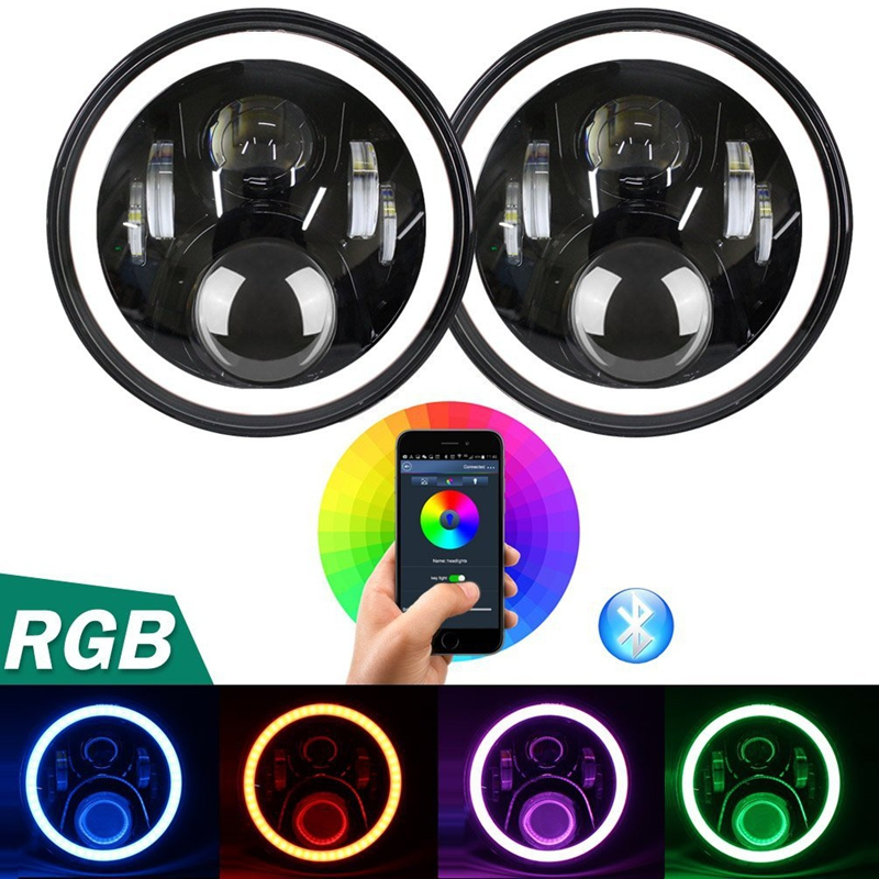 7 Inch Round LED Headlight Bulb 2PCS 50W RGB Halo Ring Angel Eyes with Bluetooth Remote Hi/Lo Beam DRL For Jeep Wrangler TJ JK 6 inch led headlights eagle light hi lo beam halo ring angel eyes x drl for offroad jeep wrangler front bumper fog light
