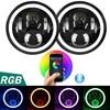 7 Inch Round LED Headlight Bulb 2PCS 50W RGB Halo Ring Angel Eyes With Bluetooth Remote