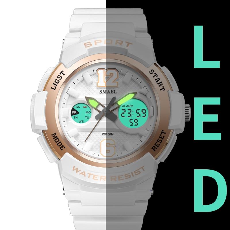 Relojes deportivos para mujeres SMAEL reloj LED blanco reloj de cuarzo reloj relojes para mujer1632 Digital impermeable mujeres relojes