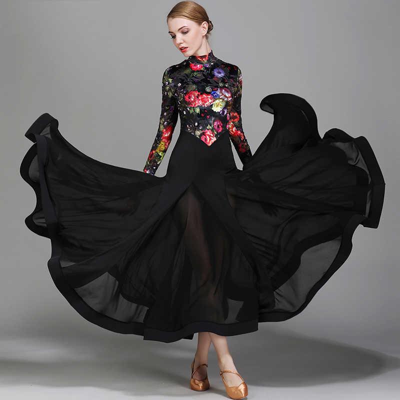 35b53d4e0 Ballroom Dance Dresses Velvet Printing Flamenco Dance Costumes Waltz Dance  Dress Competition Dress Modern Dance Clothing