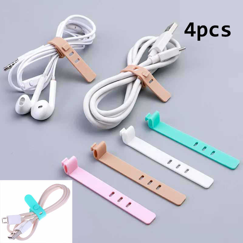 4Pcs Silicone Cable Organizer Office Stationary Desk Set Accessories Supplies USB Data Wrap Cord Winder Wire Protector Holder