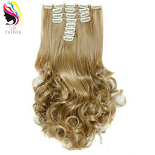 Feibin наращивание волос на зажиме Длинный шиньон для невесты