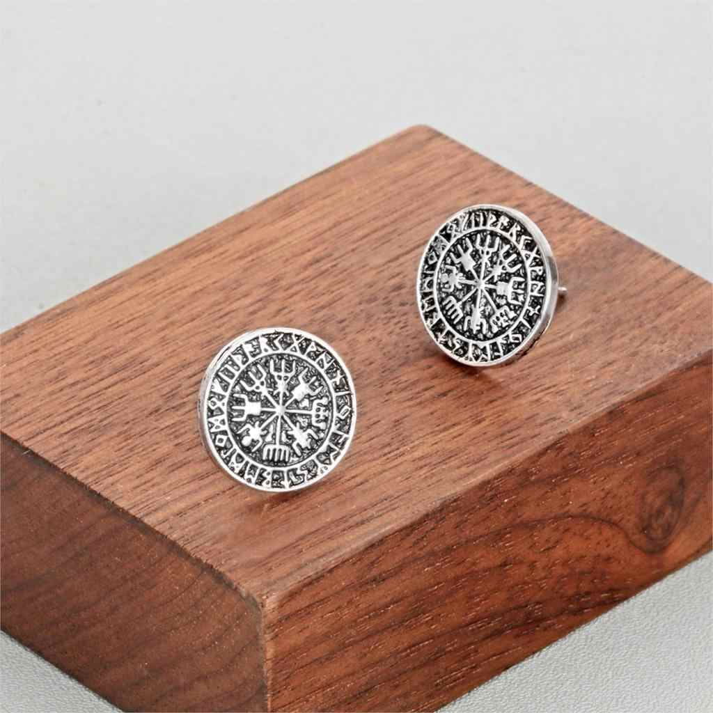 Kinitial ไวกิ้ง Runes เข็มทิศต่างหูผู้ชายผู้หญิง Faux Gauges หูปลอมหูอุโมงค์เรขาคณิตต่างหู VINTAGE Bijoux