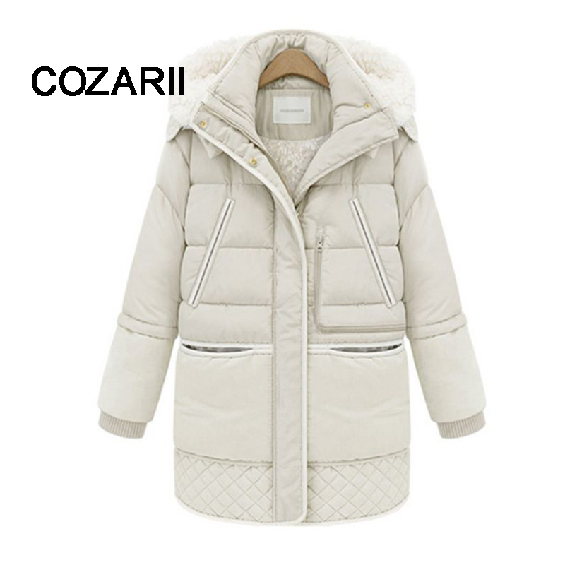 2018 Spring Winter Women's Jackets Cotton Coat Padded Long Slim Hooded   Parkas   Female Plus Size Warm Wool Jacket Outwear Clothing