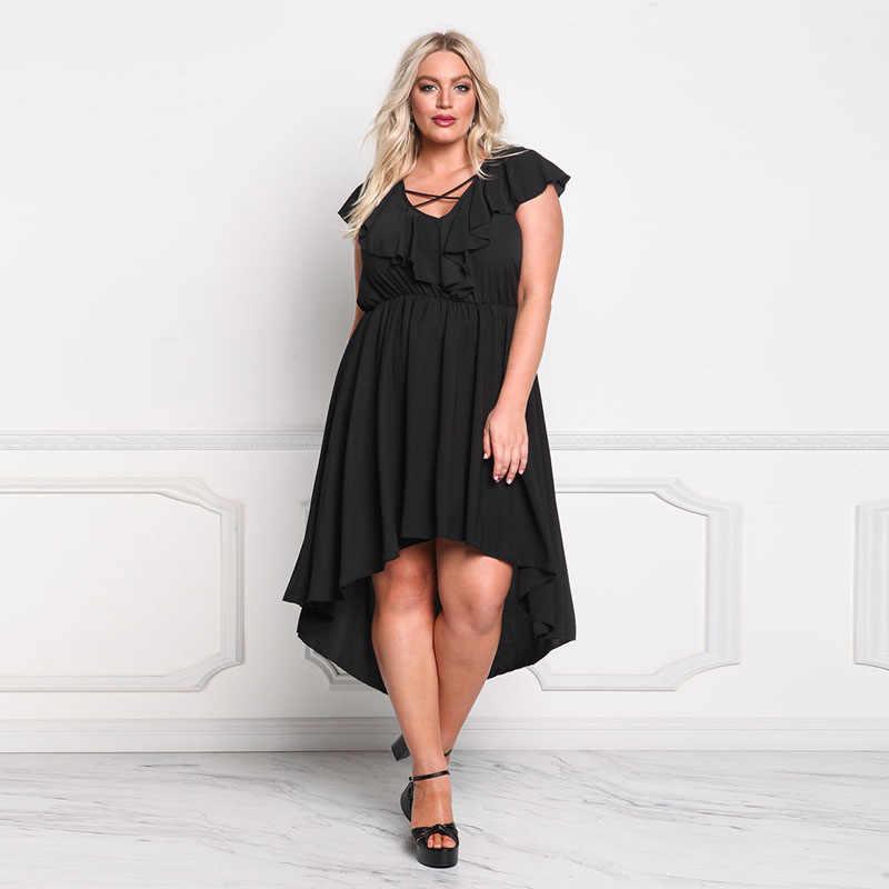 60bac56c8dc 2018 summer Fishtail dress Women Fashion plus size irregular V-neck  butterfly sleeve casual black