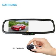 Koenbang 4.3 «TFT ЖК-дисплей автомобиля Зеркало заднего вида Мониторы 1000cd/m2 2-способ видео Вход для заднего вида Камера обратный резервный Камера