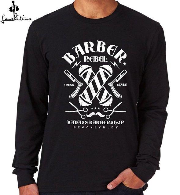 40dc70c5 cheap men t-shirt top t shirt Mens Long Sleeve T-Shirt Barber Shop Rebel men  fashion shirt
