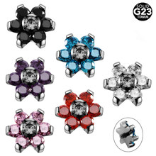 NEW 1PC G23 Titanium Flower Crystal Gems Micro Dermal Anchor Top Dermal Skinner Diver Hide in Surface Piercings Fashion Jewelry(China)