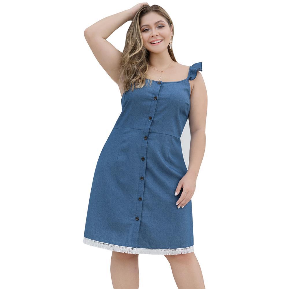 Big Plus Size Woman Jean Dress Ruffle Strap Button Down ...