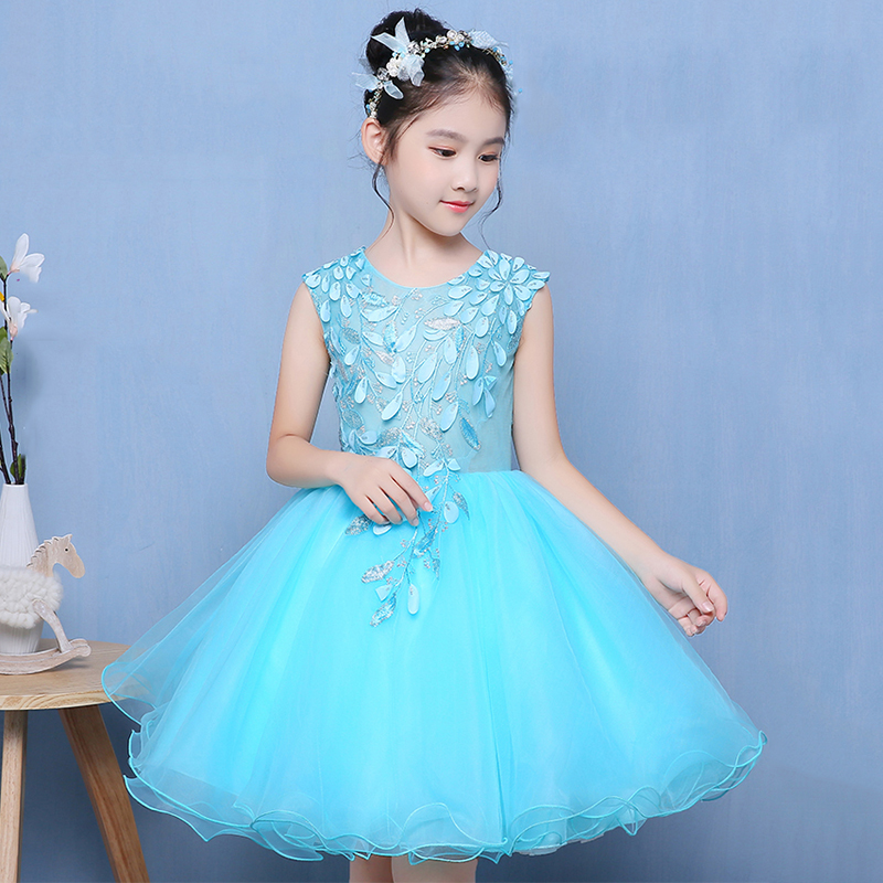 Blue Flower Girl Dresses Embroidery Ball Gown Kids Pageant Dress for Wedding Birthday Appliques Princess Dress Prom Party B41 luxury blue appliques girls pageant dresses ball gown children birthday wedding party dress teenage princess gown custom made