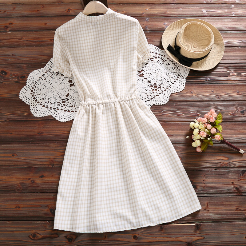 New Fashion Vintage Vestidos 2018 Mori Girl Summer Dress Women Short Sleeve Pink Plaid Cotton Dresses S-XXL C
