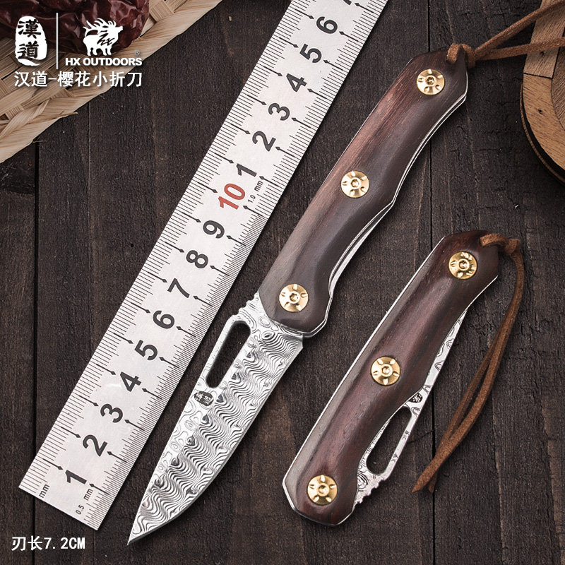 HX OUTDOORS Small Folding Knives Pocket Knife Damascus Blade Collection knife Camping ,60Hrc Outdoor Tool Drop Shipping цены онлайн