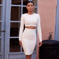 Eycebruee 2017 Newest Sexy Winter Women Bandage Dress Celebrity Party Dresses O Neck 2 Two Pieces