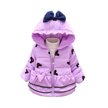 Winter Girls Down Clothes Jackets Toddler Parkas Zipper Children Cartoon Mickey Overcoats Filled Feather