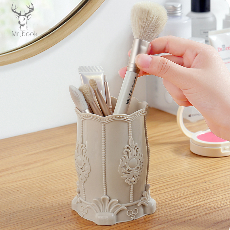 Retro Flower Carved Pattern Makeup Brush Storage Box Pen Pencil Storage Pot Pen Holders Container Desk Organizer Gift