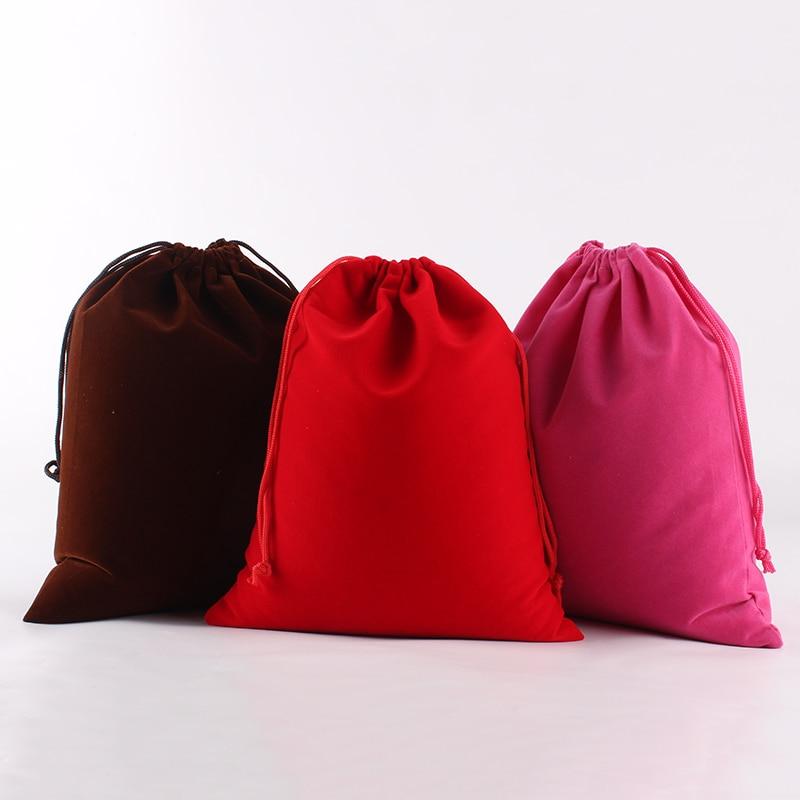5 Pcs/lot 20*25cm Wholesale Price Logo Printed Large Drawstring Bags Velvet Pouch