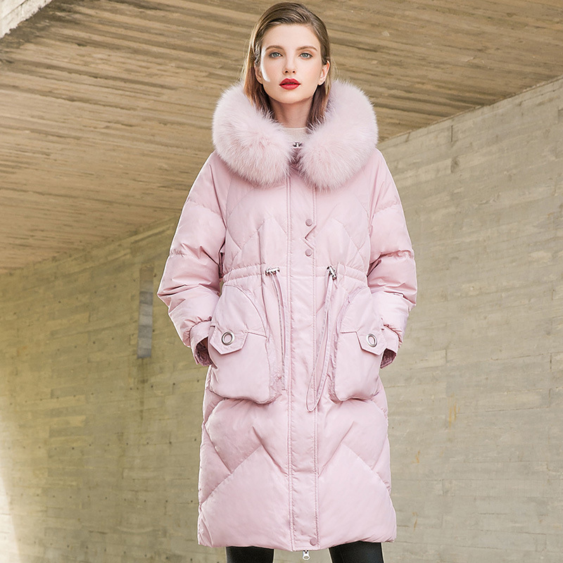Winter Thick Women Long   Down     Coat   with Genuine Fur Collar Pink Black 90% White Duck   Down