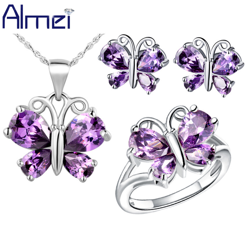 Almei Bridal Cute Butterfly Jewelry Sets for Women Silver Color Necklace Set with Purple/White Zircon Animal Earrings Rings T235