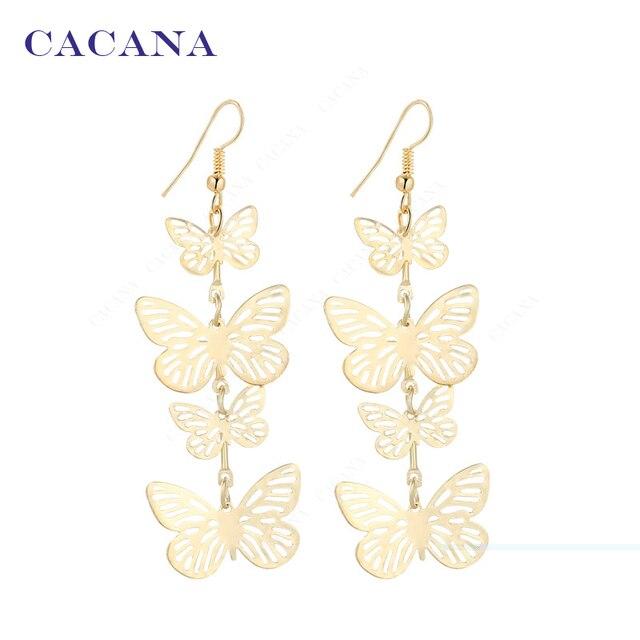 Cacana zwisają długie kolczyki dla kobiet motyl latający moda top quality biżuteria hot sprzedaż nr a219 a220