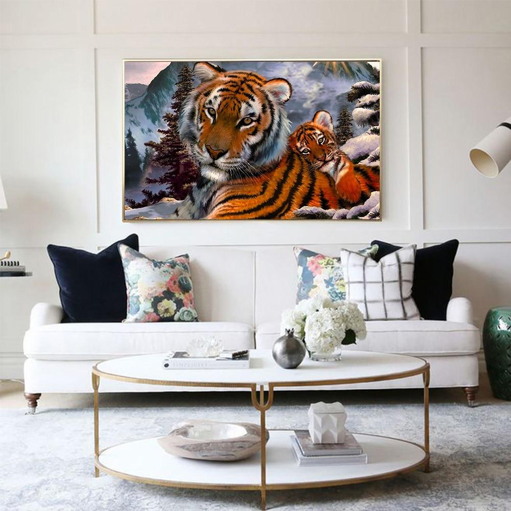 Diamante mosaico Tigre DIY 5D diamante pintura Cruz puntada Kits ...