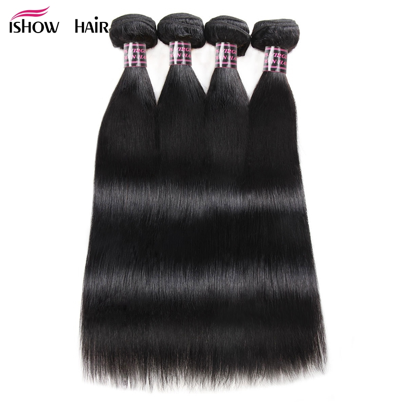 Ishow Hair 4 Bundles Straight Hair Brazilian Hair Weave Bundles Deals 8 28inch Double Weft 100