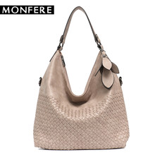 b34ffc2b8cbf MONFER Women s Vegan Leather Handbags High Quality Female Hobos Single Shoulder  Bags Vintage Big Woven Handmade Ladies Totes Bag