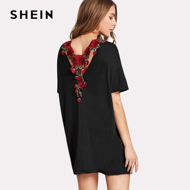 jurk met rechte hals