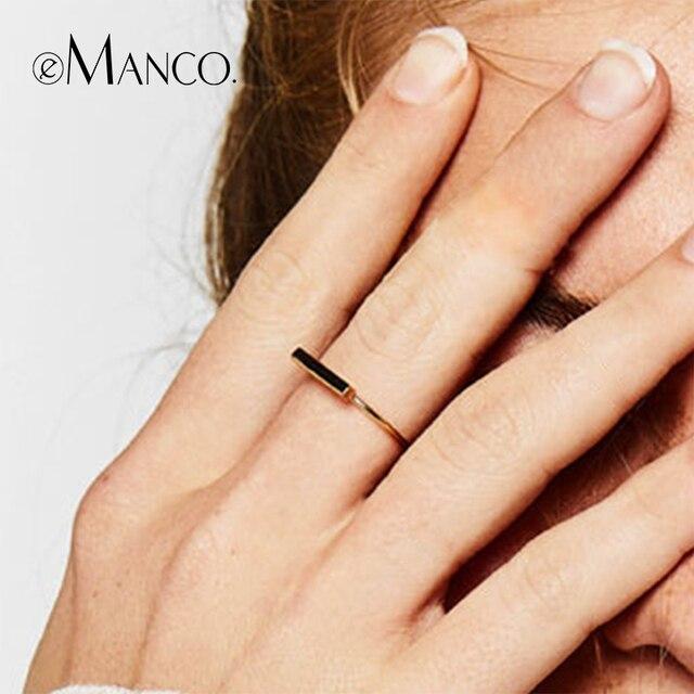 E-Manco Simples 925 Prata Anéis Para As Mulheres Duas Cores Prata Esterlina Anéis de Dedo Para Homens Femme Prata Fina jóias Anéis
