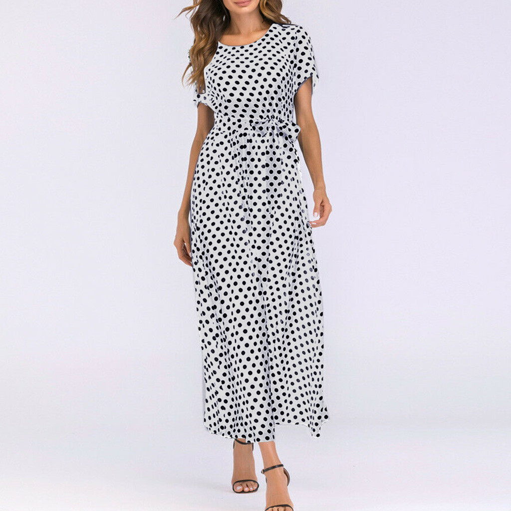 HTB1Sh90aBKw3KVjSZTEq6AuRpXaY - Summer Dress Women O-Neck Short Sleeve Boho Polka Dot Bandage Maxi Long Dress Women Beach Sundress Plus Size Vestidos