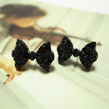 Cute Butterfly Bow Earring Jewelry With Black Rhinestones