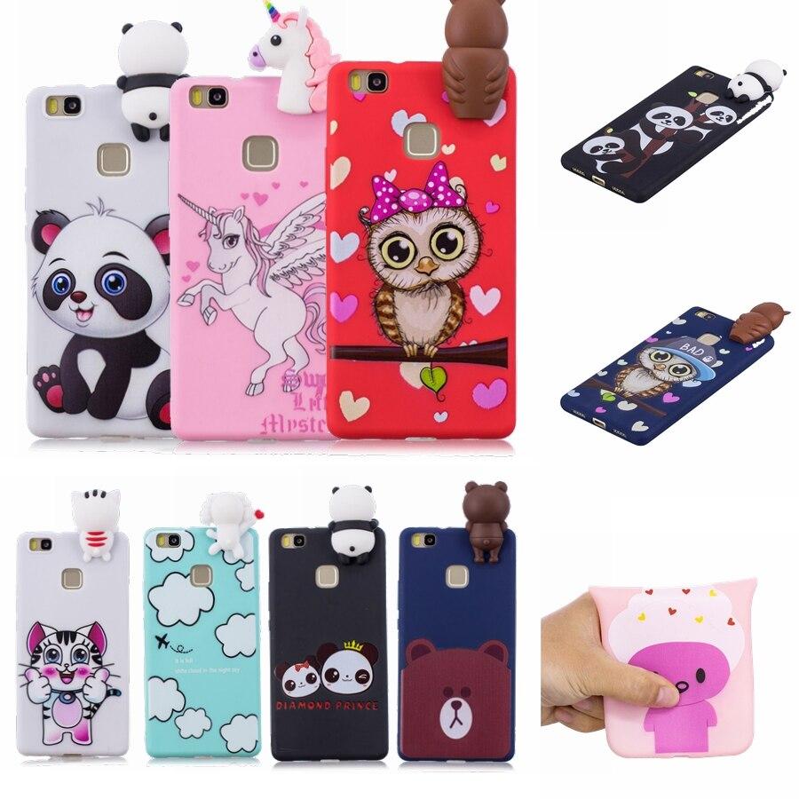 Galleria fotografica Huawei P9 Lite Case Silicone Huawei P9 Lite Protective Phone Cases Soft Huawei P9lite Back Cover Cartoon Panda TPU Fundas Capa