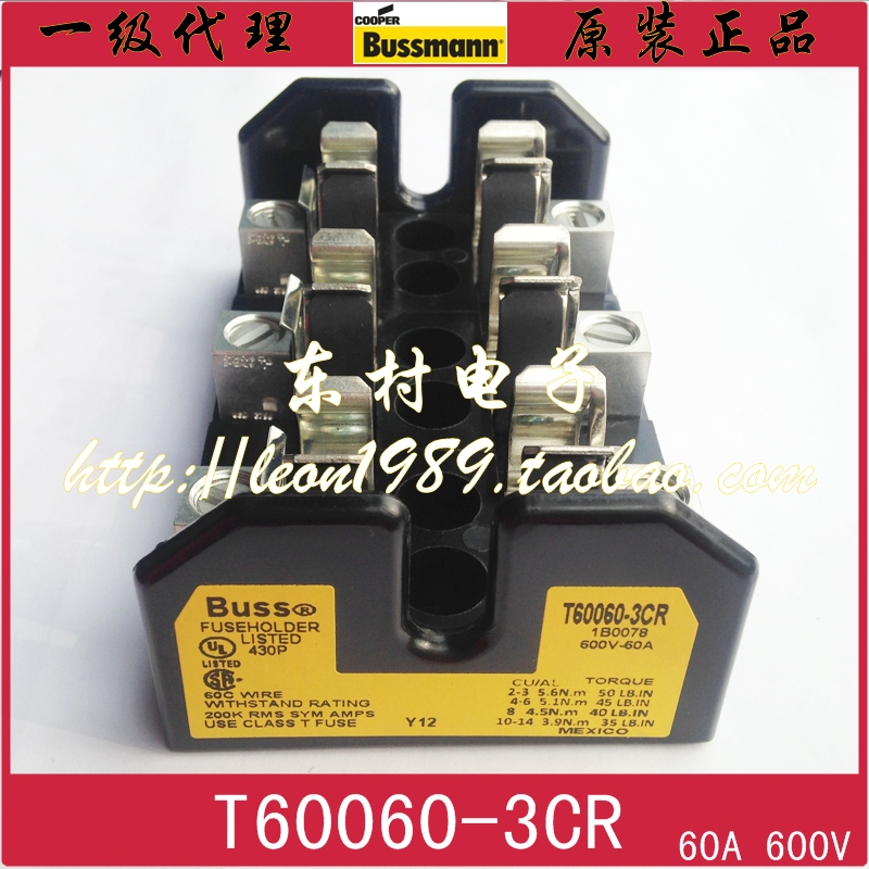 [SA]United States BUSSMANN fuse holder T60060-3CR T 60060-2CR-1CR 60A 600V [sa]united states bussmann fuse holder j 60200 3cr j 60200 2cr 600v 200a fuse
