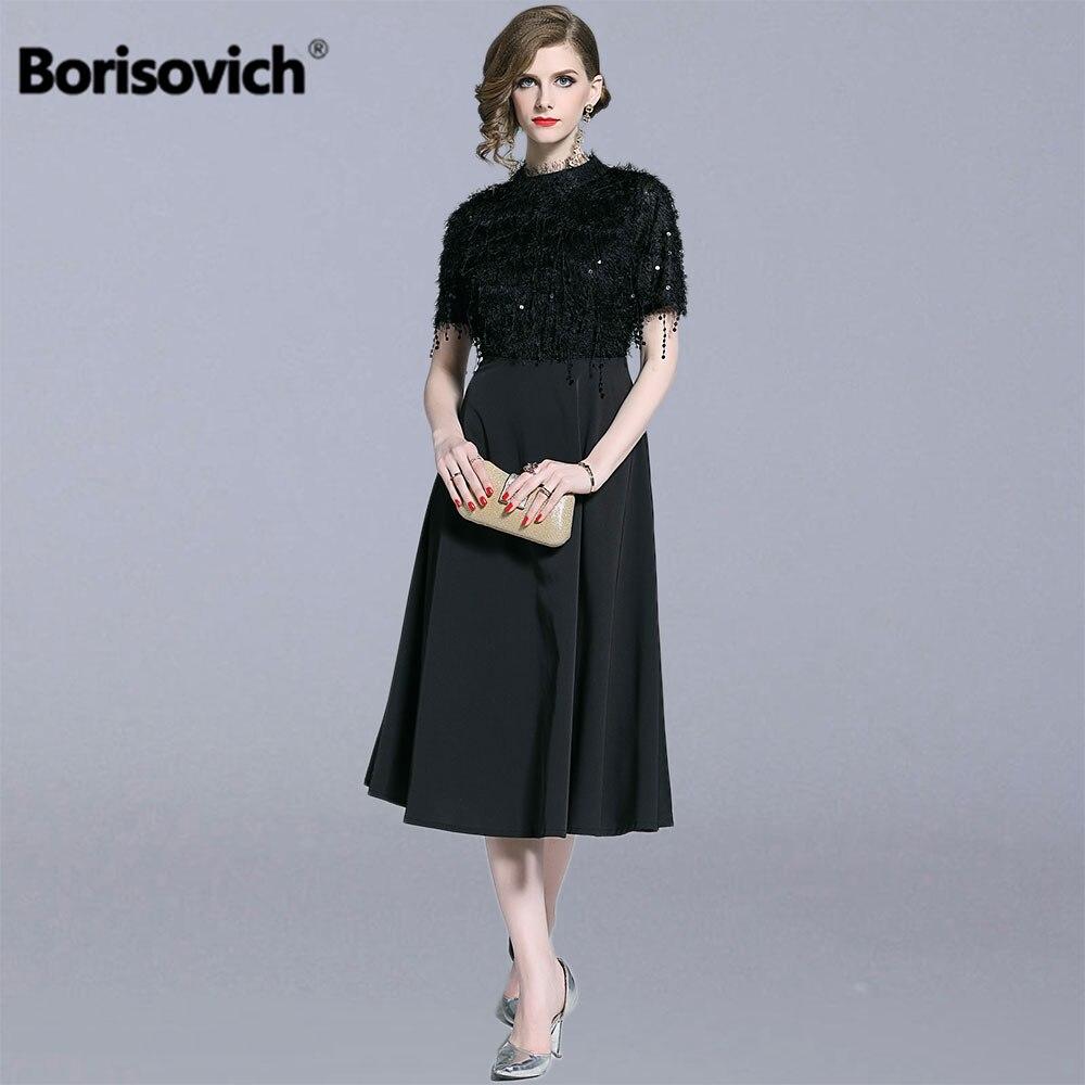 Borisovich femmes élégantes robes de fête nouveau 2019 été angleterre Style luxe gland grande balançoire a-ligne femme longue robe N1278