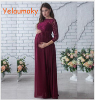 Photography maternity lace long dress photo props Girl maternity lace gown pregnant wedding party beach dress clothes[Yelaumoky]