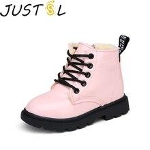 JUSTSL/осенне-зимние Ботинки martin; детские короткие ботинки; детская кожаная модная обувь; Студенческая хлопковая обувь для мальчиков и девочек