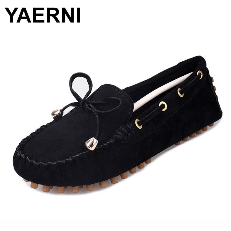 YAERNI New women casual flat shoesHot Fashion Womens Ladies Moccasin Suede Bowknot Slip On Flat Casual Shoes nature breeze womens cambridge 04 casual flat