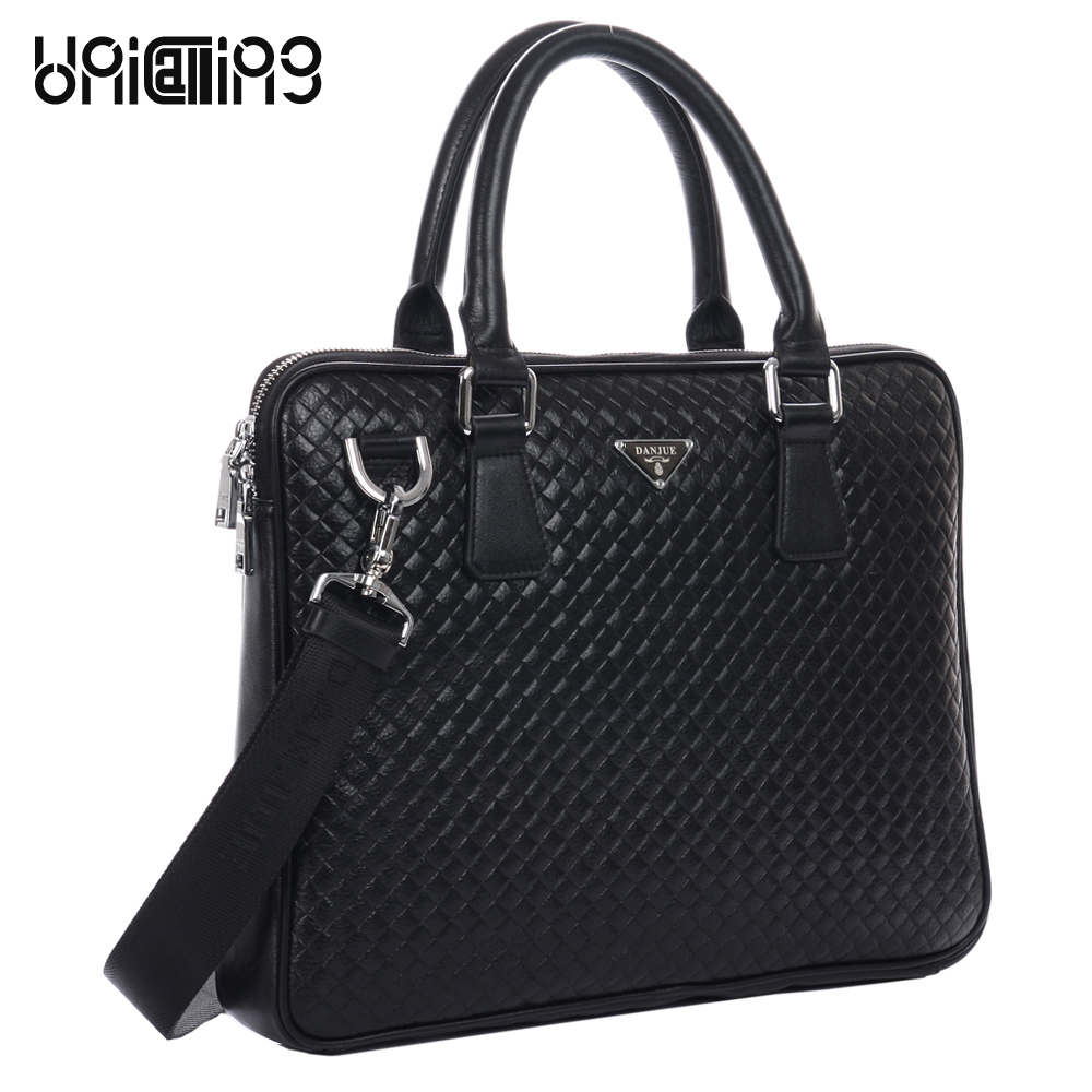 Leather briefcase bag fashion brand men genuine leather business handbag knitting pattern small laptop computer bag leather factory pirce free shipp genuine leather unisex fashion crocodile pattern handbag briefcase laptop bag 7276a