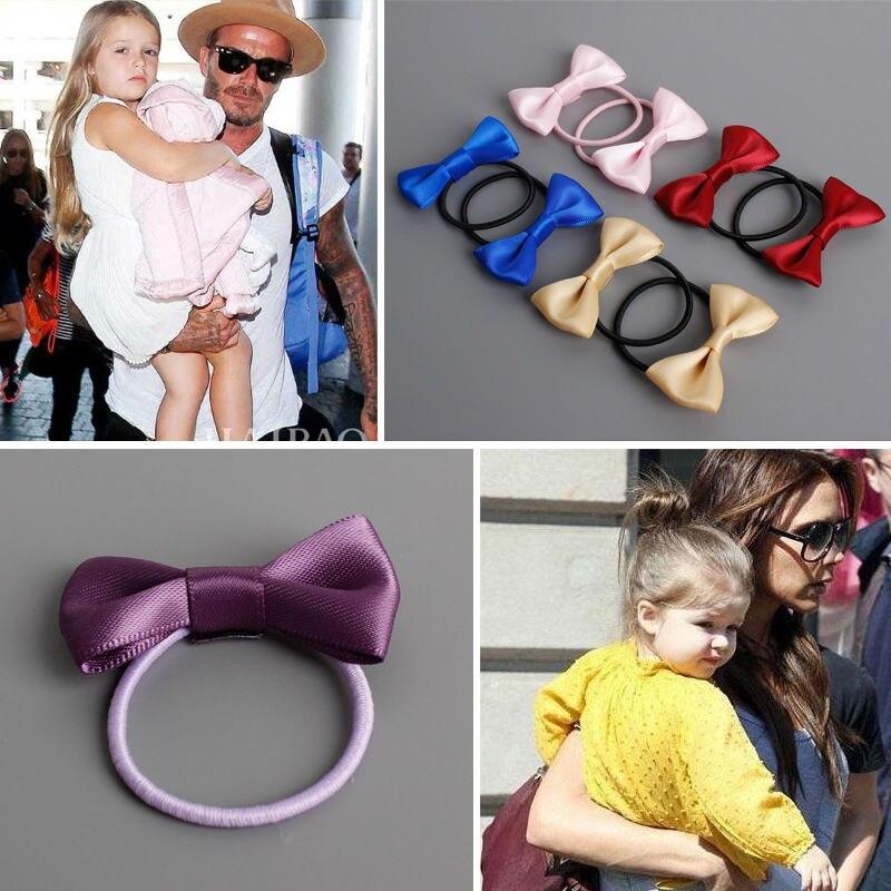 #60027 2pcs/lot Grosgrain Ribbon bow hair tie gum baby girl hair accessories hair decoration cute bow knot elastic rezinochki