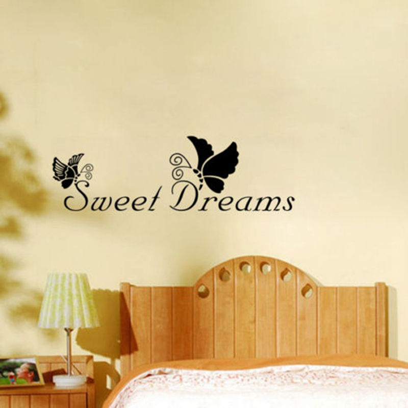 DIY Removable Sweet Dreams Quote Butterfly Wall Sticker Decals Art ...