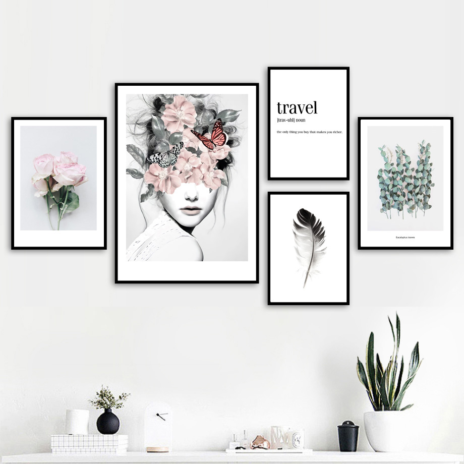 Us 3 4 46 Off Flower Leaf Feather Girl Peony Wall Art Canvas Painting Quotes Nordic Posters And Prints Wall Pictures For Living Room Decor In