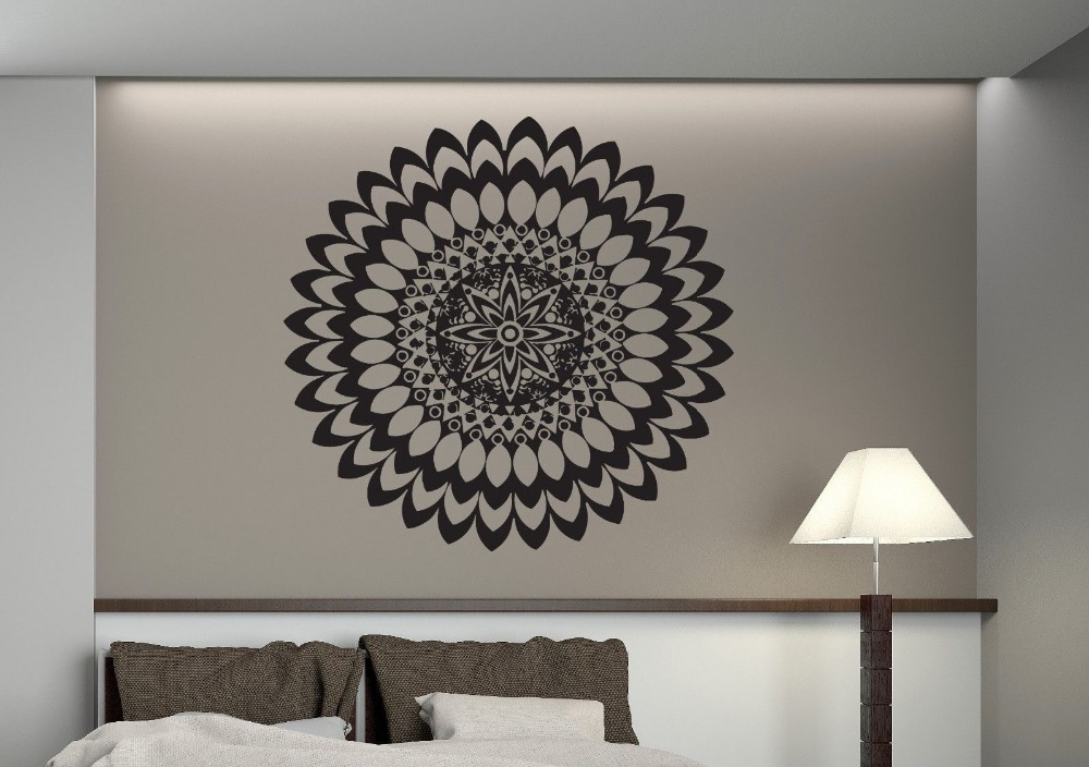 Flower Stickers Mehndi : Yoga mandala om indian buddha symbol mehndi wall decal home decor