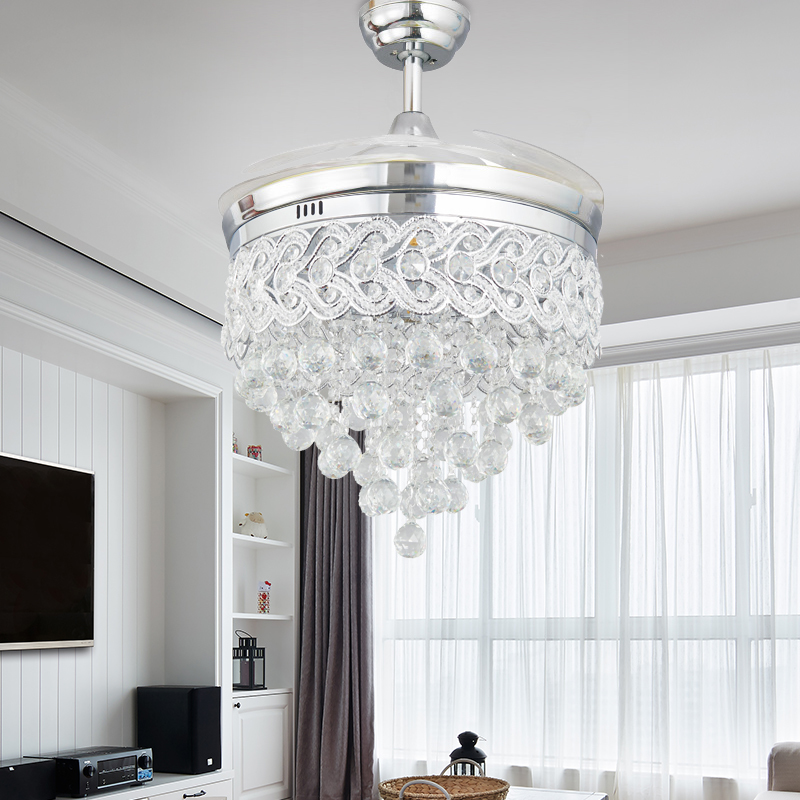 Modern Led Chrome Crystal Ceiling Fan With Lights Bedroom Living Room Folding Ceiling Fan Remote