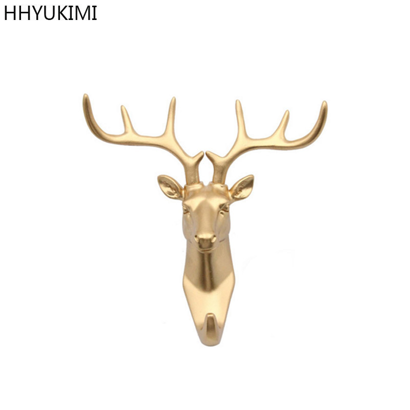 HHYUKIMI Pure Gold Animal Head Hook Resin Craft Key Cap Clothes Claw 3D Animal Mural Jewelry Decorative Hook Ornament Hanger