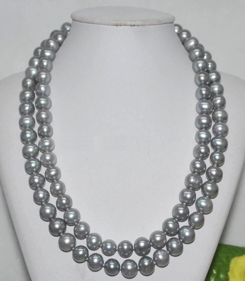 new 35 10-9MM SOUTH SEA GRAY PEARL NECKLACE 925silver GOLD CLASPnew 35 10-9MM SOUTH SEA GRAY PEARL NECKLACE 925silver GOLD CLASP