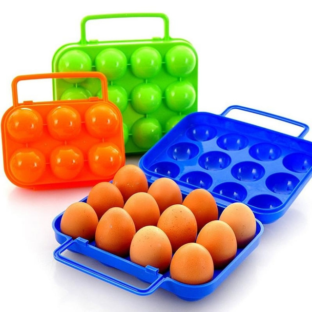 LASPERAL 6/12 Eggs Plastic Egg Tray PP Portable Outdoor Camping Picnic BBQ  ShockProof Egg